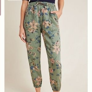 NWT ANTHROPOLOGIE 2X FLORAL JOGGERS